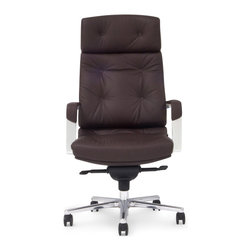 Zuri Furniture - Perot Genuine Leather Aluminum Base Chair, Dark Brown - Designed for the professional executive in mind, our Perot executive chair collection ensures both a sharp presentation and a comfortable experience. Featuring genuine leather, a synchronized mechanism and a durable reinforce aluminum frame, the Perot is sure to please any CEO. Available for purchase in black, cream, dark brown and white.
