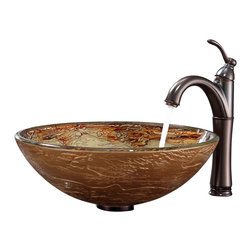 Kraus - Kraus Ares Glass Vessel Sink and Riviera Faucet Oil Rubbed Bronze - *Add a touch of elegance to your bathroom with a glass sink combo from Kraus