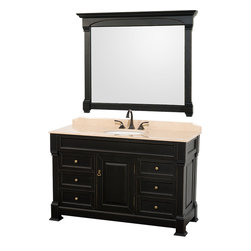 "Wyndham Collection - Wyndham Collection 55"" Andover Single Sink Bathroom Vanity Set in Antique Black - A new edition to the Wyndham Collection, the beautiful Andover bathroom vanity series represents an updated take on traditional styling. The Andover is a keystone piece, with strong, classic lines and an attention to detail. The vanity and solid marble countertop are hand carved and stained. Available in Black and Dark Cherry finishes to match any decor. Available in a range of single or double vanity sizes to fit any bathroom."