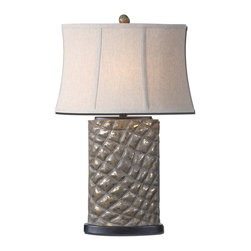 Uttermost - Armando Gray Table Lamp - This lamp looks magnificent whether the light is on or off. Place it on a table that receives some sunlight — the silver wash will catch the rays making it seem to shimmer on your table.