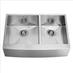 Vigo - VIGO VG3620BL Farmhouse Double Bowl Sink - Fully undercoated and padded with unique multi layer sound eliminating technology, which also prevents condensation