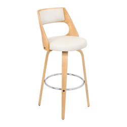 "Lumisource - Cecina Barstool, Natural/Cream - 18.5""L x 17 W x 41"" H"