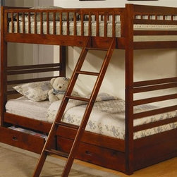 Jackson Rich Walnut Twin Over Twin Bunk Bed - Coaster 460193 - Twin over twin bunk design