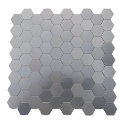 """GL Stone - Honeycomb Pattern Aluminum Mosaic Tile 11""""x11"""", Silver, 1 Carton ( 22 Sheets ) - This Honeycomb pattern Mosaic Tile is constructed from durable, impervious metal material. Modern style radiates from this sweet honeycomb tile design in sleek stainless steel, giving your kitchen or bath an unforgettable update and tons of polished allure. Morocco Metal Mosaic Tile with strong glue backing which is no need to grout and easy installation. That would be the great way to save time and cost. It is suitable for installation on floors and walls in commercial and residential spaces such as bathrooms, kitchen,etc."""