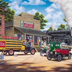 Coca-Cola All Aboard Puzzle - 1000 Piece Jigsaw PuzzleBack in the day!  The old steam engine passes by the general store as we step back in time to enjoy this scene of friends and family     going about the hustle and bustle of their day while an American icon, Coca Cola, forms the background to it all. �  Jim Harrison,     The Coca-Cola Company, Coca-Cola, Coke and the Contour Bottle Design, the Dynamic Ribbon device, the Red Disk Icon and the Coca-Cola Santa are     trademarks of The Coca-Cola Company and in Canada, Coca-Cola, Ltd.  All rights reserved.  Allied Products Corporation is an official     licensee of The Coca-Cola Company.