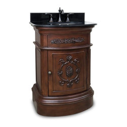 Hardware Resources Inc - Bath Elements 26-in. Emilia Merlot Single Bathroom Vanity with Optional Mirror M - Shop for Bathroom from Hayneedle.com! As exquisitely tasteful as a swig of fine wine the Bath Elements 26-in. Emilia Merlot Single Bathroom Vanity with Optional Mirror combines timeless appeal with impeccable engineered wood-construction. Carved floral details elegant curves and a rich merlot finish meld perfectly in this inimitable vanity. The compact size makes for perfect pedestal sink replacement. A large cabinet provides ample storage. About Hardware ResourcesAdherence to quality integrity and reliability has helped Hardware Resources become the fastest growing manufacturer of cabinet hardware in the United States. When you buy from Hardware Resources you're ensuring you'll be receiving service of the highest standard in the industry. You the customer are the unique focus of Hardware Resources.