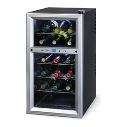 Kalorik - Kalorik 18 Bottles Wine Cooler Multicolor - WCL-20629 - Shop for Chillers from Hayneedle.com! Store up to 18 bottles of your best wine under optimum conditions in the Kalorik 18-Bottle Wine Cooler. Your wine will enjoy the optimal temperature and humidity conditions within this wine cooler and you will enjoy a wine cooler with fully digital temperature controls. This thermoelectric wine cooler features a premium metallic silver-finished door trim with double-paned tempered glass. The tinted glass door protects wine from harmful light and the interior of the cooler features insulated dual-temperature zones with scalloped chrome shelves to cradle and display your wine.The Kalorik 18-Bottle Wine Cooler uses a state-of-the-art thermoelectric peltier unit to provide vibration-free cooling for your best wines. Vibration from compressor-based cooling systems can disturb the sediments in even the sturdiest of wines. This wine cooler avoids this problem altogether by relying on thermoelectric cooling. Thermoelectric cooling uses no Freon which can be harmful to the planet and it is so energy efficient that it uses about as much energy as a 75-watt light bulb. In addition the peltier cooling unit is silent -the only noise you'll hear is the gentle noise of the fan dissipating heat. The adjustable thermostat means the cooler can be used to store almost any wine varietal under the optimum temperature and humidity conditions.The cooler's internal fan-forced circulation eliminates hot spots inside the wine cooler. The cooler features a fan mounted on the back wall to ensure even temperature distribution in each zone. Incandescent light bulbs used in some wine coolers and refrigerators can actually act as mini heaters raising the temperature in the air surrounding them. This wine cooler features soft interior LED lighting to illuminate your wine without creating uneven heat distribution. The LED light features an on/off switch so you can use it only when you need it.The 