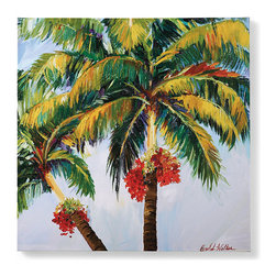 """Frontgate - Tropical Palms Wall Art I - 30"""" - Hand-stretched, gallery-wrapped canvas. All-weather work of art; can withstand all temperature and climates. Suitable for indoor or outdoor use. Nonfading inks. Ready to hang using stainless steel hanging wire or sawtooth hanger. Set your mind to island time with our breezy Tropical Palms Canvas Art, in your choice of images and sizes. All-weather canvas panels are printed with gorgeous fade-resistant inks. Canvas and treated wood frames resist mold and mildew.  .  .  .  .  . Made in USA."""