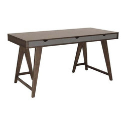 Euro Style - Daniel Desk in Walnut - Dark walnut-stained ash veneer on MDF. Gray painted MDF drawer. Solid wood legs, dark walnut stain. Solid wood base. Includes 3 drawers for storage. Color/Finish: Walnut/Gray. 59 in. L x 27.5 in. W x 30 in. H