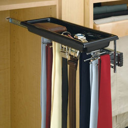 Rev-A-Shelf - Rev-A-Shelf RTBC-14TCR Tie/Belt Rack with Tray - Chrome - RTBC-14TCR - Shop for Closet from Hayneedle.com! About Rev-A-ShelfRev-A-Shelf a Jeffersontown Kentucky-based company has been dedicated to the creation of innovative useful residential cabinet storage and organization products since 1978. The company manufactures a wide variety of functional products such as lazy susans kitchen drawer organizers and childproof locking systems. A global market leader Rev-A-Shelf is known for its superior quality and versatility.