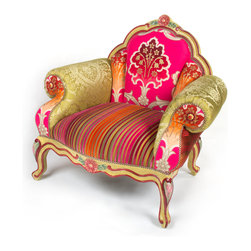 Bel Canto Chair | MacKenzie-Childs - One of our classic shapes with a new twist, our Bel Canto Chair is a bouquet of spring colors. A mix of jacquard patterned arms, velvet striped seat, and multicolored zigzag silk complements the striking motif on the chair's back. Hand-painted and hand carved hardwood frame, with rosettes carved into the base. Made in the USA.