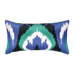 Nanette Lepore - Nanette Lepore Ikat Pillow Cobalt/Emerald - A fun ikat print is an on-trend way to add a punch of color to a white sofa or chair.