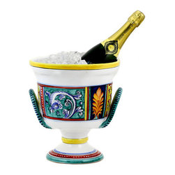 Artistica - Hand Made in Italy - Elena: Deruta Deluxe Ceramic Ice Bucket - Elena Design Collection: