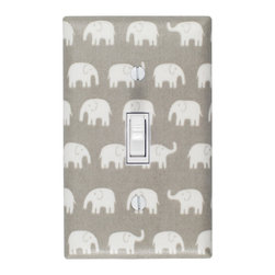 Slightly Smitten Kitten - Elephant Nursery - Handmade light switch plates are a fun and creative way to add the perfect finishing touch to your child's room or baby nursery!  This light switch plate features adorable white elephants on a gray background!