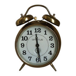 Brass Alarm Clock - This Spartus vintage alarm clocking is sure to keep you ticking!  Wind it up and wake up in style. Works beautifully and adds character to any room.