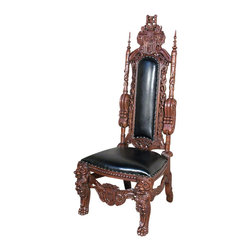 MBW Furniture - Solid Mahogany Gothic Carved Black Leather Throne Lion Side Chair - This is a gorgeous solid mahogany Gothic carved genuine black leather throne lion side chair. It features a gorgeous high back richly embellished with pierced and fancy carvings and crest motifs including foliage and scroll decorations with finials on top. This Gothic style ornamentation in solid mahogany is absolutely stunning and it has a very comfortable padded back and seat upholstered with black leather and very attractive nail heads. The hand rests have exquisite faces of lions rich in detail and it has distinguished carved legs with floral and scroll carvings and pierced stretchers with foliage and scroll carvings and beautiful paw feet. This is a gorgeous piece of furniture that will not only enrich your home decor with its presence but will also become a treasured heirloom in your family!