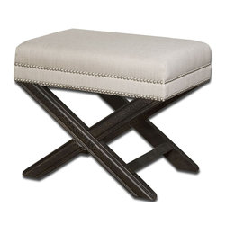 Carolyn Kinder - Carolyn Kinder Viera Small Bench X-67032 - Shimmery, sandy white woven tailoring features Teflon&#174: Fabric protector, silver nail accents and black crackled wood frame in solid white mahogany