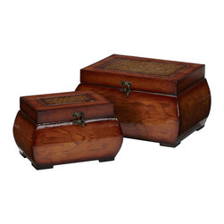 Nearly Natural - Decorative Lacquered Wood Chests (Set of 2) - Ok, who doesn't want a set of beautiful wood boxes?  We didn't think so!  This set's larger piece is 6.5 inches high, 11.25 wide and 8.25 inches deep, while its companion is 5.25 inches high, 8.5 inches wide, and 5.5 inches deep for ample storage. The breathtaking grain pattern is accented by a shiny gloss finish giving it a wide variety of color sheen. A simple clasp attaches to the top where one can admire the intricately designed floral artwork.