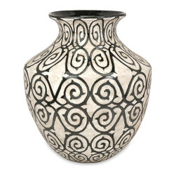 iMax - iMax Benigna Oversized Wide Floor Vase X-08698 - With a muted bronze pattern raised from a cream finished bodice, the wide Benigna oversized floor vase has a sophisticated and luxurious appeal.