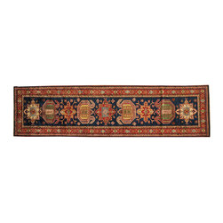 1800-Get-A-Rug - Navy Runner Tribal High Quality Kazak Hand Knotted Oriental Rug Sh16596 - Our Tribal & Geometric hand knotted rug collection, consists of classic rugs woven with geometric patterns based on traditional tribal motifs. You will find Kazak rugs and flat-woven Kilims with centuries-old classic Turkish, Persian, Caucasian and Armenian patterns. The collection also includes the antique, finely-woven Serapi Heriz, the Mamluk Afghan, and the traditional village Persian rug.