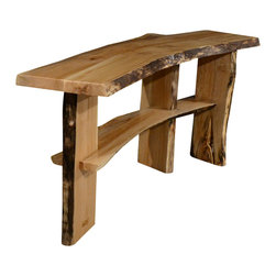 Natural Edge Furniture - Western Maple Console - Thank you for considering this one of a kind piece from Natural Edge Furniture. It is handmade in our small shop in Bend Oregon by very patient craftsmen and women. We salvaged the tree, milled the lumber and dried it ourselves. Drying takes years to do it properly, so that is what we do.