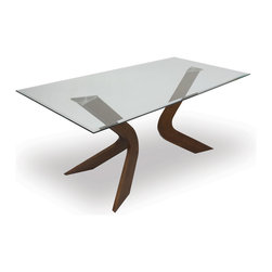 Bryght - Scott Glass Dining Table - This glass trestle dining table is sure to enhance the sense of light and space in a dining room. The Scott dining table's modern four legged design provides ample leg space without foregoing its artsy unconventional look.