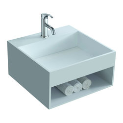 ADM - ADM Matte White Wall Hung Stone Resin Sink - This ingenious sink is not only exquisite, but practical as well. The wall-mounted receptacle is space saver yet also comes with an extra shelf for storage. What more could you ask for in a cool, contemporary sink?