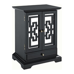 Powell - Powell Larissa 2-Door Jewelry Box X-211J-621 - The Larissa 2-Door Jewelry Box provides convenient storage for your all of your valuables.  Featuring a Black finish on the outside and a tarnish-resistant black lining inside, this piece will complement any style space.  The mirrored doors with geometric decorations open to reveal 8 central ring rolls and opposing sliding storage cubbies with 6 hooks each.  One fully lined interior drawer and one exterior lined drawer provides ample interior storage space.  Antique Brass hardware and magnet door closure complete the piece.  Fully assembled.