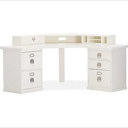 """Bedford Smart Technology(TM) Corner Hutch, Antique White - Designed for ultimate versatility, our iconic Bedford Collection allows you to arrange and rearrange components to best meet your needs for years to come. The Smart(TM) Technology Corner Desk Hutch seamlessly connects you to high-tech accessories by keeping electronics and cords discreet while also organizing household items. To create a desk set that's ideal for your space, {{link path='/shop/furniture-upholstery/tools-furn/bedford-desk-furniture/'}}click here{{/link}} to view our Bedford Desk Set Tool. 69.5"""" wide x 34.5"""" deep x 6.5"""" high The Smart(TM) feature on the back panel is a 2-plug power supply cord set with dual data jacks and a rocker switch. Sort papers or bills, and tuck away office supplies in the convenient drawer. Detailed with iron pulls and name plates. View our {{link path='pages/popups/fb-home-office.html' class='popup' width='480' height='300'}}Furniture Brochure{{/link}}."""