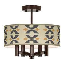 """Giclee Glow - Arts and Crafts - Mission Los Lunas Ava 5-Light Bronze Ceiling Light - Sleek and elegant this beautiful ceiling light will make your home glow with style. A tiger bronze finish complements the clean lines while five lights make this fixture a delightfully bright and versatile choice for any style of home decor. This stylish fixture is custom made to order and features a beautiful Los Lunas pattern giclee-printed onto the drum shade. U.S. Patent # 7347593. Tiger bronze finish. Los Lunas pattern printed shade. Semi-flushmount design. Five 60 watt candelabra bulbs (not included). 14"""" wide. 13 1/2"""" high. Shade only is 14"""" wide 5"""" high. Canopy is 5"""" wide.  Tiger bronze finish.  Los Lunas pattern printed shade.  Semi-flushmount design.  Five 60 watt candelabra bulbs (not included).  14"""" wide.   13 1/2"""" high.   Shade only is 14"""" wide 5"""" high.   Canopy is 5"""" wide."""