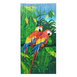 "Bamboo54 - Bamboo Double Parrot Scene - Bamboo54 double parrot scene is made from authentic bamboo and hand strung. One curtain contains 90 strands across and is the perfect door hanging accessory. Hand painted on both sides. Measures approximately 36"" x 80"""