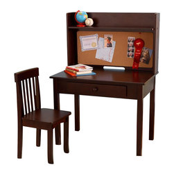 KidKraft - Pin Board Desk With Hutch & Chair by Kidkraft - Our Pin Board Desk & Chair Set gives young students a perfect workspace for finishing homework, studying or even doing fun art projects. The bulletin board surface makes it look even more like the desks mommy and daddy use.