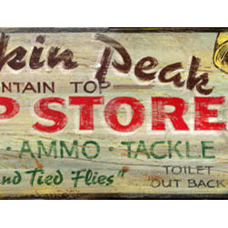 Red Horse Signs - Vintage Hunting Sign Buckskin Peak Camp Store Large  Wood Signs, 14x42 - Vintage  Hunting  Sign  -Buckskin  Peak  Camp  Store  -  Wood  Signs          Add  the  appeal  of  the  old  camp  store  with  our  Buckskin  Peak  vintage  hunting  sign.  Great  for  any  lodge,  cabin  or  rustic  rec  room,  this  antique  look  sign  is  available  in  2  sizes:  9x32  and  14x42,  and  is  customizable  for  a  truly  one-of-a-kind  sign.  Printed  directly  to  distressed  wood  with  all  the  imperfections  of  old  weathered  wood.  For  a  nominal  fee,  you  may  change  the  wording  on  this  sign.  Please  specify  alternate  wording  for  Buckskin  Peak  on  order.  Allow  three  weeks  for  delivery.          Product  Specifications:                  Vintage  Lodge  Sign              Available  in  2  sizes:  9x32  and  14x42              Customize  for  truly  unique  sign              Printed  directly  to  distressed  wood