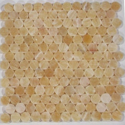 Honey Polished Circles Pattern Mesh-Mounted Onyx Tiles - 1 in. x 1 in. Honey Mesh-Mounted Circles Pattern Onyx Mosaic Tile is a great way to enhance your decor with a traditional aesthetic touch. This polished mosaic tile is constructed from durable, impervious onyx material, comes in a smooth, unglazed finish and is suitable for installation on floors, walls and countertops in commercial and residential spaces such as bathrooms and kitchens.