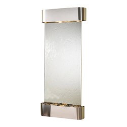 Adagio Water Features - Inspiration Falls Wall Fountain, Stainless Steel, Silver Mirror, Rounded Frame - Comes complete with polished river rock, halogen lighting, and electric pump.