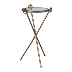 Uttermost - Davke Glass Accent Table - Forged iron rings give flair to this simple, crisscross iron table enhanced by an antiqued gold leaf finish with a clear, tempered glass top.