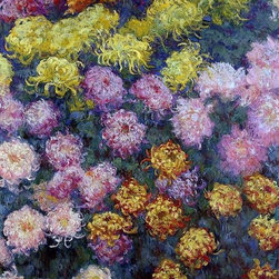 "Claude Oscar Monet Bed of Chrysanthemums - 16"" x 24"" Premium Archival Print - 16"" x 24"" Claude Oscar Monet Bed of Chrysanthemums premium archival print reproduced to meet museum quality standards. Our museum quality archival prints are produced using high-precision print technology for a more accurate reproduction printed on high quality, heavyweight matte presentation paper with fade-resistant, archival inks. Our progressive business model allows us to offer works of art to you at the best wholesale pricing, significantly less than art gallery prices, affordable to all. This line of artwork is produced with extra white border space (if you choose to have it framed, for your framer to work with to frame properly or utilize a larger mat and/or frame).  We present a comprehensive collection of exceptional art reproductions byClaude Oscar Monet."
