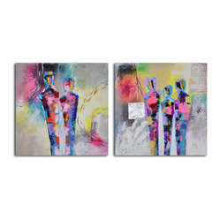 """Kaleidoscope Figurines"" Hand-Painted 2-Piece Canvas Set - This modern rendering of figures standing together almost has a retro feel, so if you like bright, splashy colors, this one's for you. Painted in acrylic on canvas and stretched over a wooden frame, you can hang the two-painting set the moment it arrives."