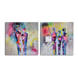 Kaleidoscope figurines Hand Painted 2 Piece Canvas Set - This modern rendering of figures standing together almost has a retro feel, so if you like bright, splashy colors, this one's for you. Painted in acrylic on canvas and stretched over a wooden frame, you can hang the two-painting set the moment it arrives.