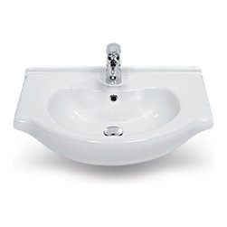 CeraStyle - Ceramic Wall Mounted or Self Rimming Sink - This curved rectangular bathroom sink is ADA compliant and made of the highest quality white ceramic. Sink can be used as a wall mounted or self rimming bathroom sink. Includes a single overflow and faucet hole. Made and designed by luxury Turkish brand CeraStyle.