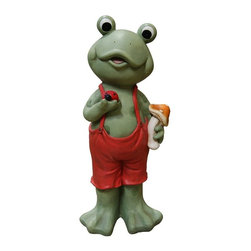 Alpine Fountains - Frog Boy in Red Suspenders - Made of Magnesia. 1 Year Limited Warranty. Assembly Required. Overall Dimensions: 11 in. L x 12 in. W x 28 in. H (7.71 lbs)These fanciful frogs will add a splash of color and whimsical feel to any garden space! Group together or place separately to create a unified playful feeling in your outdoor areas.