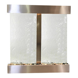 Aspen Falls Wall Fountain, Stainless Steel, Silver Mirror, Square Frame - The Aspen Falls Wall Fountain is a centerpiece of serenity and beauty of nature that is perfect for your home or office. It exudes an experience of being one with nature within your own workplace or living room.