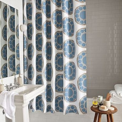 """Woodblock Flower Shower Curtain 
