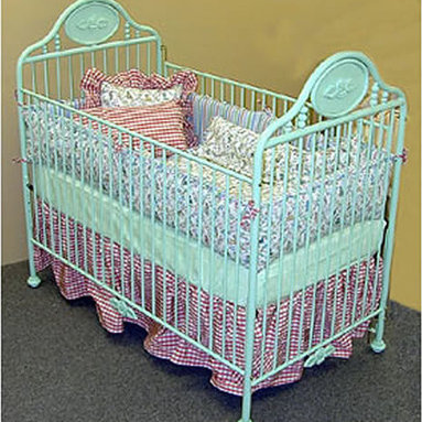 Secret Garden Iron Crib - This is a cool vintage-style crib in a unique color.