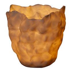 immerLit - Translucent Porcelain Votive, Cream Glaze - immerLit votives create an elegant, serene ambiance with the natural beauty of translucent porcelain and candlelight.