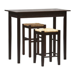 Linon - Linon Tavern 3 PC Space Saver Counter Height Dining Set in Espresso - Linon - Pub Sets - 02850ESP01KDU - Tavern 3 Piece Counter Set with space saving convenience. This set features a simple rectangular table on long sturdy legs with two backless counter height stools with rush seats. Made from solid woods and MDF and topped off with a rich Espresso finish. Stools tuck neatly under the table when not in use.
