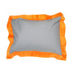 "Teyo's Tires - Standard Pillow Sham - Standard flanged sham it outrageous in appearance with it's ""Sheet Metal"" fabric with flange trim of orange minky fabric.    Also available in sets!"
