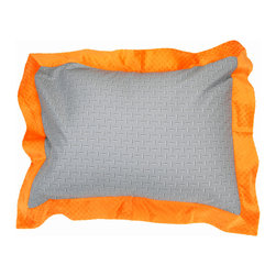 """Teyo's Tires - Standard Pillow Sham - Standard flanged sham it outrageous in appearance with it's """"Sheet Metal"""" fabric with flange trim of orange minky fabric.    Also available in sets!"""