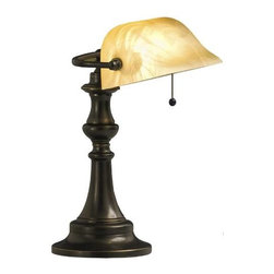 "Kichler - Kichler 70407 Clayton Portable Desk Lamp 70407 - The traditional banker's lamp gets a contemporary facelift with this Westwood desk lamp. Measuring a relatively demure 14.5"" high, and featuring a rich bronze finish and beige marble swirl glass, this banker lamp is the perfect accent piece to any den or desk where light and style is wanted. It uses a 60-watt (max.) bulb and employs an on-off pull chain switch for easy operation.Bronze finish 1 60-watt max. bulbs(not included)Backplate Dimensions: 6.25"" Dia Body Height: 14.5"" Bulb Included: No Bulb Type: A19 Chain Length: 5"" Collection: Clayton Extension: 9.8"" Finish: Bronze Length: 10"" Number of Lights: 1 Room: Family Room, Great Room, Living Room, Office Den Socket 1 Base: Medium Socket 1 Max Wattage: 60 Style: Transitional Switching: On-Off, Pull Chain Type: Table Lamps UL Listed: Yes Wattage: 60W Weight: 5.5 LBS Width: 10.5"""