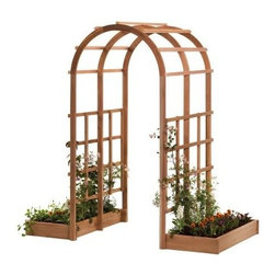 Arboria Tunnel 7-ft. Cedar Arch Arbor - Climbing vines are going to the love the Arboria Tunnel 7-ft. Cedar Arch Arbor - and you will too. Two garden boxes come included so it's easy to get growing and both boxes and arbor are crafted of genuine Western red cedar. This versatile wood is naturally rot and insect resistant not to mention easy to care for. If you'd like to preserve the cedar color simply treat it with your own oil stain for extra UV protection. Includes two side panels three arches and the two garden boxes. Made in the USA. About Arboria ProductsArboria products are designed and manufactured by LWO Corporation of Portland Oregon. Since its inception in 1980 LWO Corporation has developed a nationwide reputation as a designer and manufacturer of innovative high-quality wood products for the home and garden. Arboria is proud to feature distinctive high quality sustainable furniture and garden structures made in the U.S.A. from natural and renewable Western Red Cedar. In addition Arboria offers a complete line of imported casual furniture crafted from superior grade hardwood.